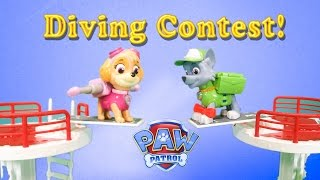 getlinkyoutube.com-PAW PATROL Nickelodeon Paw Patrol Diving Contest a Paw Patrol Toys Video Parody