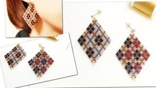 getlinkyoutube.com-ひし形ビーズピアスの作り方(アーガイル柄) 11/0 Delica beads
