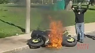 getlinkyoutube.com-Stunt Bike Riding WHEELIES Catches On FIRE Motorcycle Stunts ROC 2016 Ride Of The Century FAIL VIDEO
