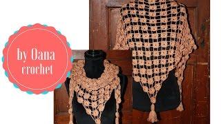 getlinkyoutube.com-Crochet triangular scarf  by Oana