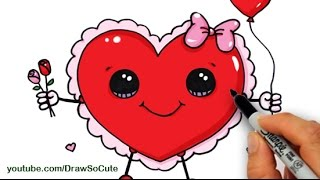 getlinkyoutube.com-How to Draw a Valentine Heart Cute and Easy step by step