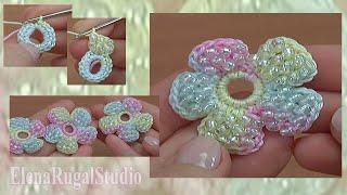 getlinkyoutube.com-How to Make a Crochet Simple Flower With Beads Tutorial 157