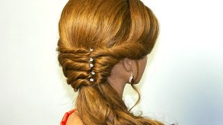 getlinkyoutube.com-Easy romantic prom hairstyle for long hair.