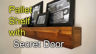 getlinkyoutube.com-Pallet shelf with secret compartment - Speakeasy Rustic Style!