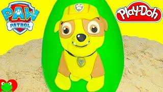 getlinkyoutube.com-Paw Patrol Rubble Play Doh Surprise Egg Chase Marshall Shopkins