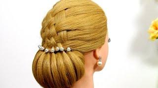 getlinkyoutube.com-Bun updo. Wedding hairstyle for medium hair.