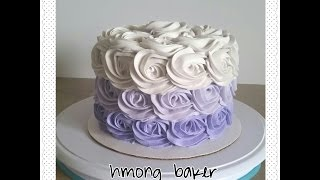 getlinkyoutube.com-How I pipe my Rosette cake ombre style