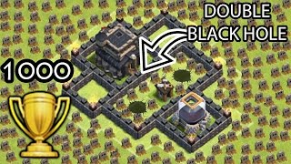 "getlinkyoutube.com-Clash of Clans ""Double Black Hole TROLL BASE"" + 1000 Trophies Won COC Funny Moments Defense Replays"