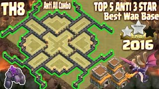 getlinkyoutube.com-Top 5 Town Hall 8 (Th8) best war base 2016, 2017. 100% Anti 3 star. Clash Of Clans