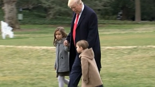getlinkyoutube.com-Raw: Trump Departs White House with Grandkids