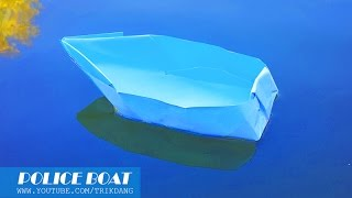 getlinkyoutube.com-Origami for Kids: How to make a paper boat that Floats on Water | Police Boat