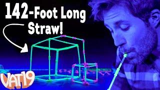 getlinkyoutube.com-We built a 142-foot long glowing straw!