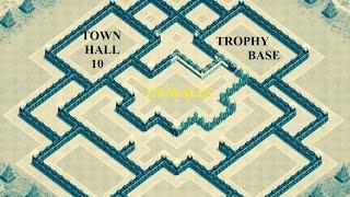 getlinkyoutube.com-275 walls - NEW Trophy Base TH 10 - CLASH OF CLANS
