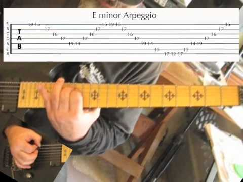 Complete Diatonic Sweep Picking Arpeggios guitar lesson of E minor Scale