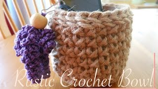 getlinkyoutube.com-Easy Simple Rustic Crochet Bowl -Video Tutorial (left-handed)