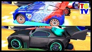 getlinkyoutube.com-Disney Pixar Cars 2 Screen Race Neon Tuner VS World Grand Prix | Cars Fast as Lightning