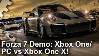 Forza Motorsport 7 - Demo Xbox One vs Xbox One X vs PC Comparison