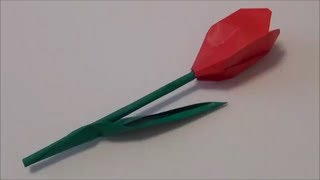 "getlinkyoutube.com-""Tulip"" solid origami 「チューリップ」立体折り紙"