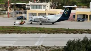 getlinkyoutube.com-Dash 8-102 (SX-BIP) landing and takeoff, Olympic Air, Leros Island, Greece