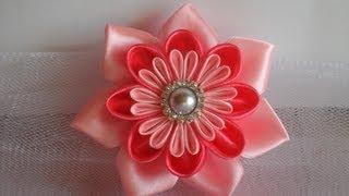 getlinkyoutube.com-Украшение на шапочку Канзаши. Просто и красиво / kanzashi flowers tutorial