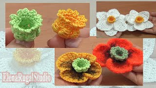 getlinkyoutube.com-Crochet 3D Bellflower Tutorial 68 Part 1 of 3 Center for Poppy Flower Narcissus Daffodil