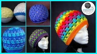 getlinkyoutube.com-Crochet Granny Stitch Hat 5yr old / Adult Tutorial