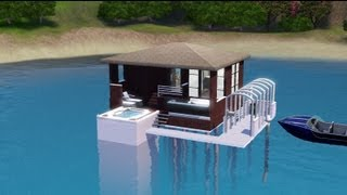 Sims 3 - Building a Small House Over The Sea -- Water Cabin --