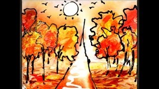 getlinkyoutube.com-Painting Autumn simple and effective Abstract Art painting techniques AbstractArtLesson.com