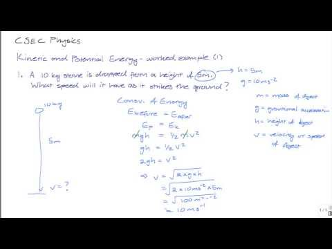 CXC CSEC PHYSICS: Kinetic and Potential  Energy Worked Example