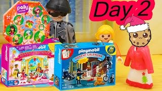 getlinkyoutube.com-Polly Pocket, Playmobil Holiday Christmas Advent Calendar Day 2 Toy Surprise Opening