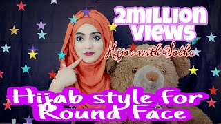 most requested  easy modern hijab style for round face without cap 2018 /islamic wear width=