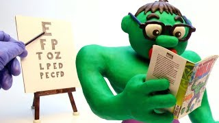 Hulk Needs Glasses Stop Motion Play Doh Cartoon Video For Kids