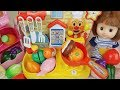 Baby doll and kitchen cooking food toys play
