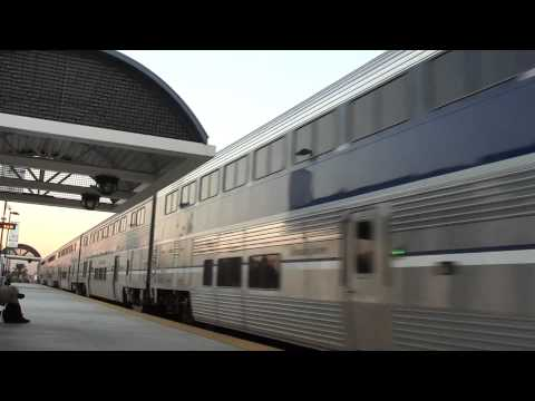 Amtrak 583 train passing Buena Park, CA station very fast HD