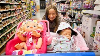getlinkyoutube.com-Shopping with Baby Alive Poops and Pees Doll and with Reborn Baby Doll at Walmart