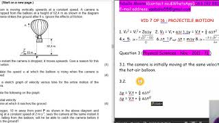 32..GRADE 12 : PROJECTILE MOTION: PHYSICAL SCIENCE NOV 2011 P1: 7 OF 16