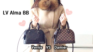 getlinkyoutube.com-Louis Vuitton Alma BB Vernis Amarante VS Damier Ebene
