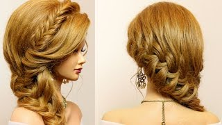 getlinkyoutube.com-Party hairstyle for long medium hair. Braids tutorial