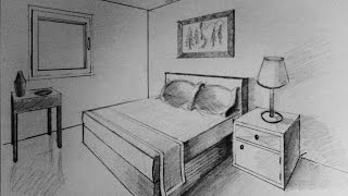 How to draw -  two point perspective - bedroom