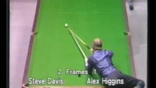 getlinkyoutube.com-Unusual shot by Alex Hurricane Higgins to beat Steve Davis - Snooker