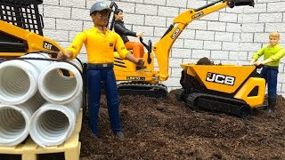 getlinkyoutube.com-BRUDER TOYS Construction company mini JCB - Cat