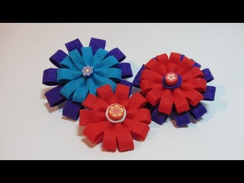 Tutorial: Felt flowers. Flores de fieltro.