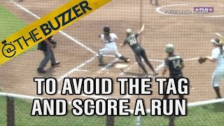 Army softball player jumps over catcher like it's no big deal, scores run