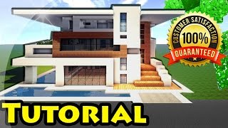 getlinkyoutube.com-Minecraft: Easy Modern House / Mansion Tutorial #4 + DOWNLOAD - 1.8 [ How to make ]