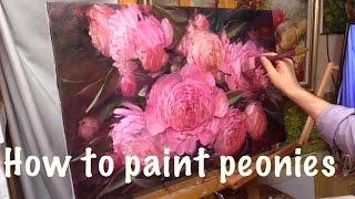 getlinkyoutube.com-How to paint peonies. Oil painting. Workshop in English