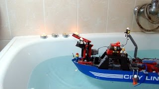 getlinkyoutube.com-Lego Technic RC Fire Boat with working water cannon