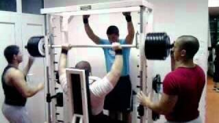 getlinkyoutube.com-Anel shoulder press 155kg  4x @ PROGYM Sarajevo BiH