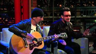 getlinkyoutube.com-U2 Bono & The Edge Perform 'Stuck In a Moment' on David Letterman