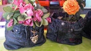 getlinkyoutube.com-Powertex - Textilhärter - alte Kinderjeans verwerten zum Blumenübertopf
