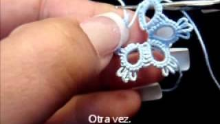 getlinkyoutube.com-Frivolite-Tatting lesson 56 - como cerrar una flor - union alternativa